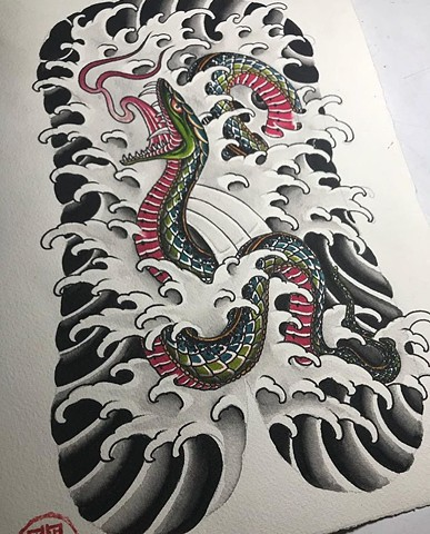 snake back tattoo in colour artwork painting Strange World Tattoo Calgary Alberta Canada
