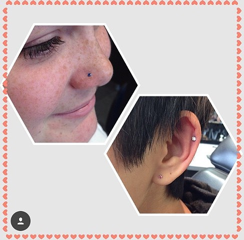 nose and ear piercing at strange world tattoo