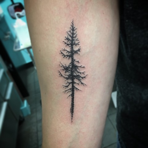 dot work tree tattoo strange world tattoo
