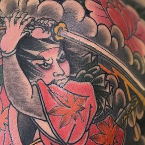 Japanese warrior tattoo Strange World Tattoo Calgary Alberta Canada tattoo artist's