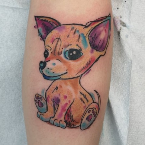 water colour puppy tattoo strange world tattoo calgary alberta