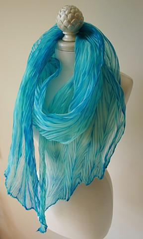 Shibori dyed Silk Scarf in shades of turquoise