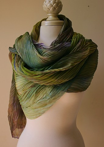 Shibori dyed silk scarf in  shades of green and purple