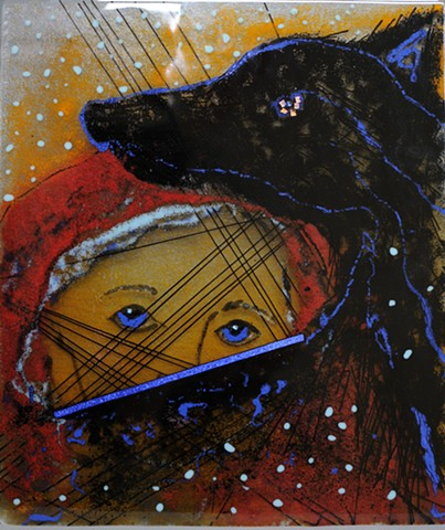 little red riding hood,  black glass  wolf, wolf , spirit guide, fairy tale retold