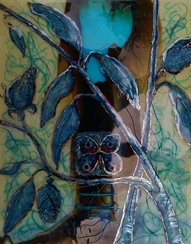 Kiln formed glass butterfly panel