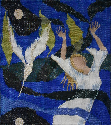 hand woven tapestry of  woman dancing under the moon with a white heron