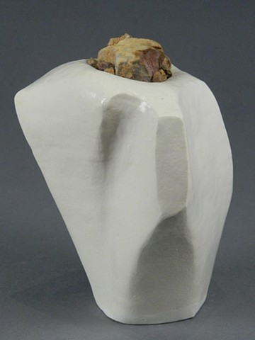 coil-built earthenware, borosilicate glaze, rocks and acorn