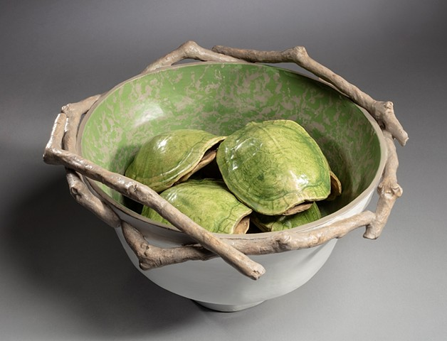 coil-built earthenware clay, oil paint, encaustic with press molds of water turtle shells