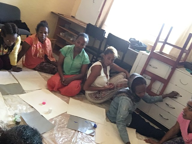 Loss Trauma Art Workshops, Sodo Ethiopia, with beautiful local women. Host, Alice Karnes.