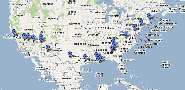 """Adventures in Being (small)"" US Tour Route"