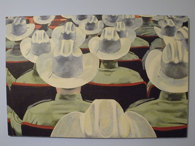 A room full of the backs of cowboy hats. Sheriff convention. 1st painting.