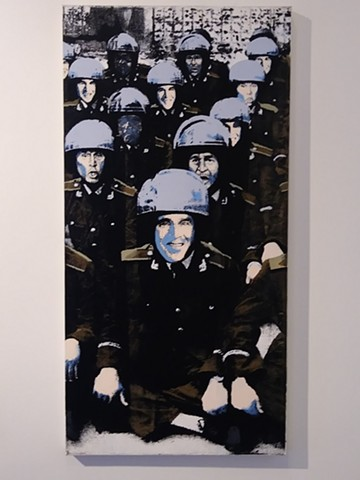 George W.Bush Riot Squad Battalion. 5th painting, American Colonialism, war on terror, Iraq war