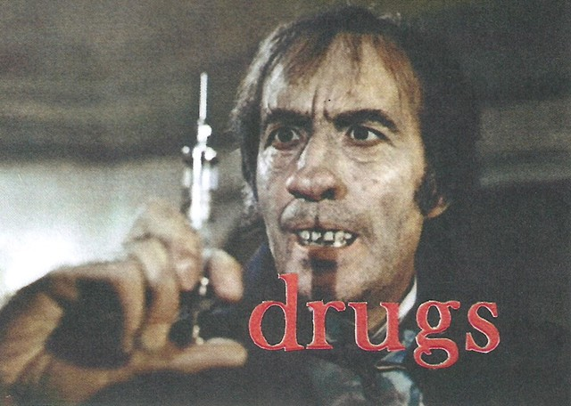 Christopher Lee, drugs, drug addiction, horror movie, Hammer horror