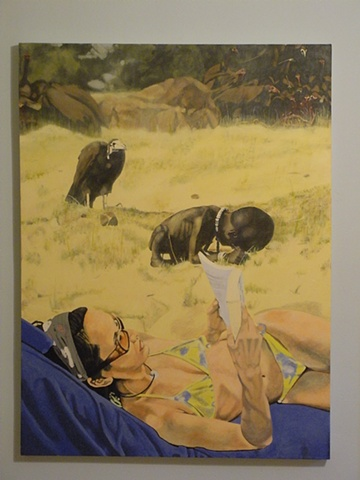 Sunbathers ignoring starving african child while the vulture waits. 2nd painting(s)