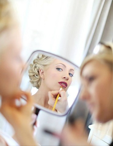 Beautiful wedding airbrush makeup with red lip by Tanya Deemer, a Los Angeles based freelance makeup artist working in Torrance, Redondo Beach, Hermosa Beach, Manhattan Beach, Long Beach, Huntington Beach, Catalina, Palos Verdes, California Destination We
