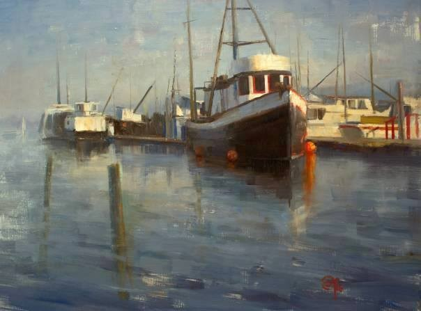 Seascape Boat fishing devin roberts artist oil painting