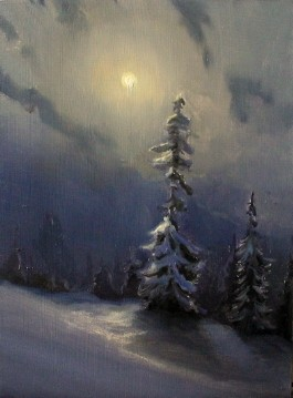 nocturne moon snow painting