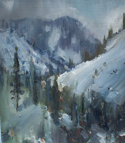 Devin Roberts Plein Air Painting Artist Snow Mountains