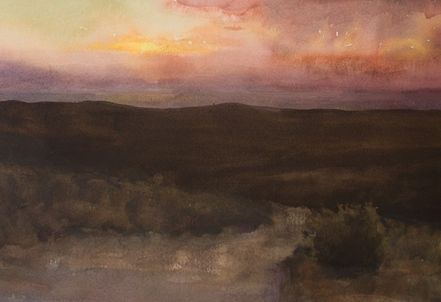 Devin Michael Roberts Art Painting Watercolor Sunset Contemporary