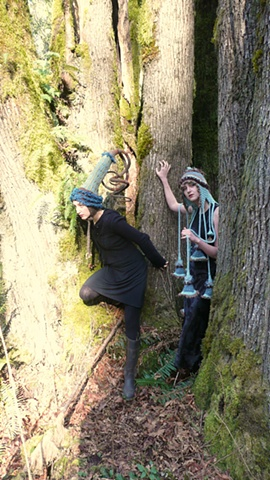 Nature Drag Forest Installation:  Seastarlet Party Hat & Diatomaceous Wedding Mantle