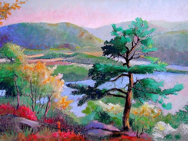 Pine Above Iona Island_acrylic_30x40