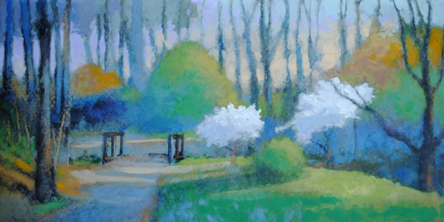 Dodwoods by the Bridge Path 24x48 acrylic