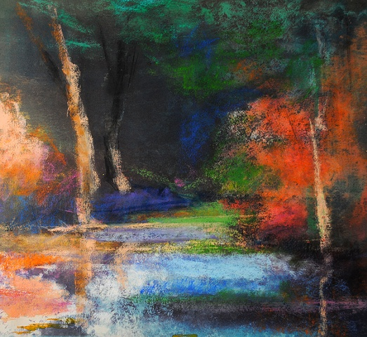 Stream in Autumn, pastel, 42x40