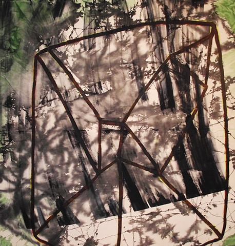 green black dappled acrylic and ink