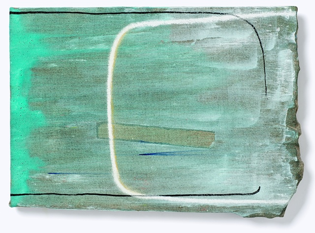 turquois rough edge linen with white arc
