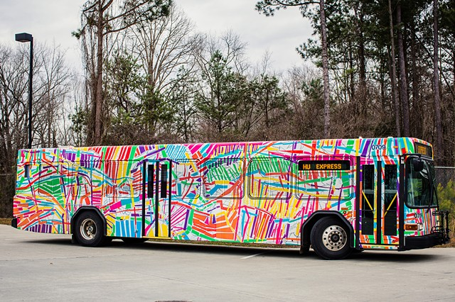 MOBILE MURAL  Chapel Hill Transit bus Chapel Hill, NC  Commissioned by Town of Chapel Hill, Chapel Hill Public Arts, Chapel Hill Transit with support from Orange County Arts Commission  2013  photo: Nick Pironio