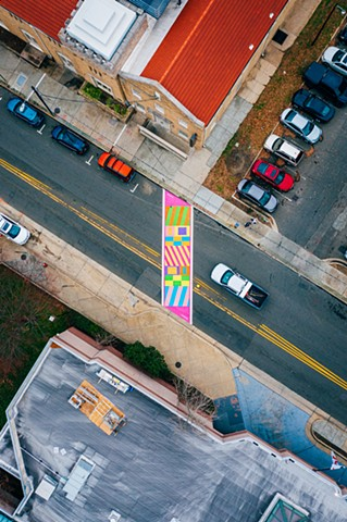 Crackling!  Durham, NC  220 Foster St in front of the Armory  2019   Commissioned by Durham Arts Council for City of Durham and funded by the NEA, NC Arts Council and additional public/ private partners.  photo: Estlin Haiss