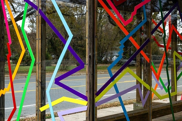SLOW ROLL  Chapel Hill Transit Bus shelter in front of Carrboro Town Hall, NC  Commissioned by Town of Chapel Hill and Chapel Hill Transit  photo: Will Overman  2018
