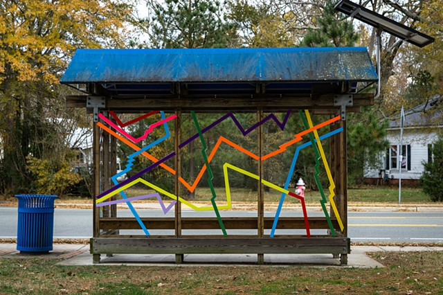 SLOW ROLL  Chapel Hill Transit Bus shelter in front of Carrboro Town Hall, NC  photo: Will Overman  2018