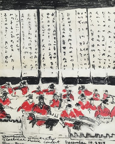 "TRADITIONAL KOREAN MUSIC CONCERT AT YEUNGNAM UNIVERSITY, DAEGU  CHARCOAL PENCIL AND OIL PASTEL ON PAPER 8.5"" W x 11"" H"