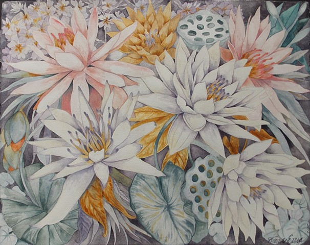 Donna Essig watercolor painting water lilies