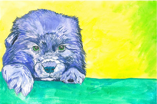 Grizzly puppy watercolor Donna Essig