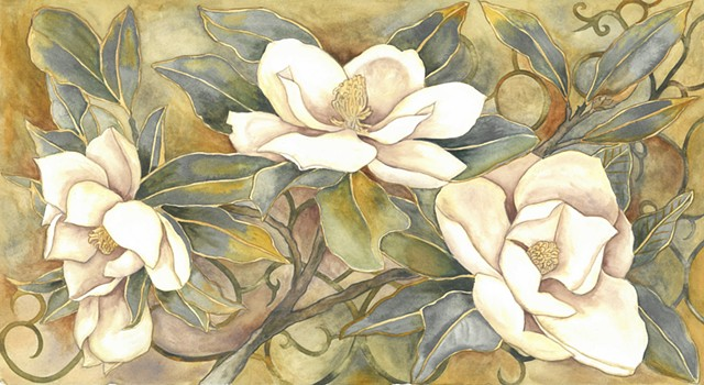 Donna Essig original watercolor magnolias