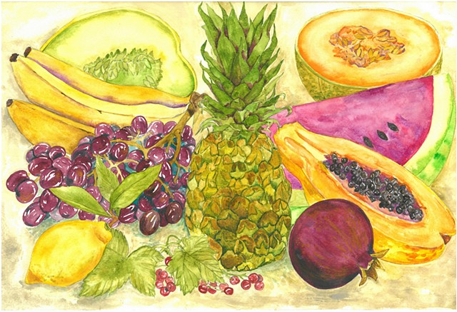 Donna Essig watercolor still life Pineapples Melons