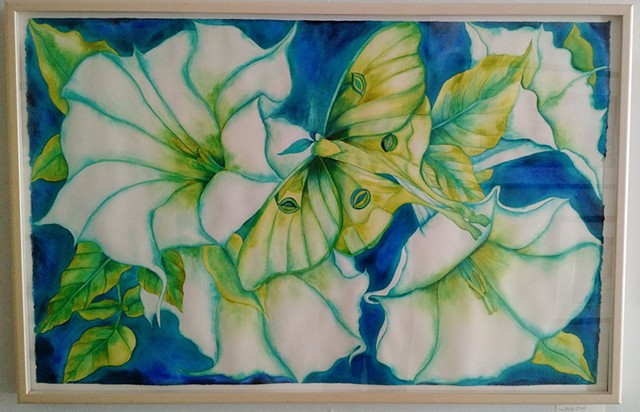 Donna Essig watercolor Moongarden Luna Moth Moonflower