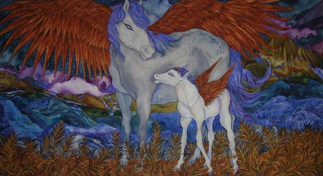 Donna Essig original watercolor painting mythological creatures Winged Horses