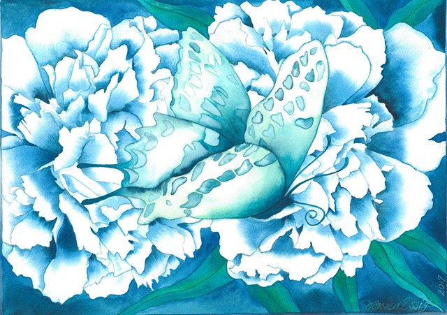 Donna Essig watercolor Butterfly Peony