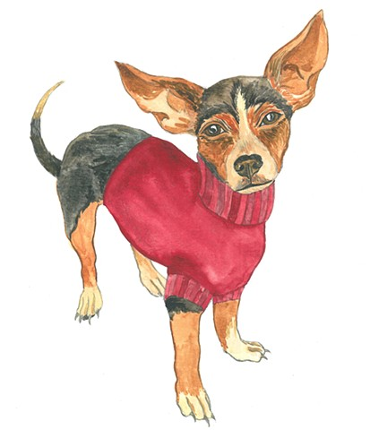 Zipper dog chihuahua watercolor Donna Essig