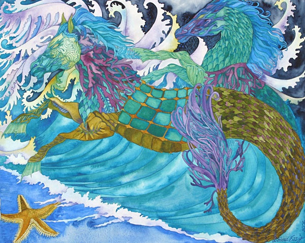 Donna Essig original watercolor painting hippocampus sea horses