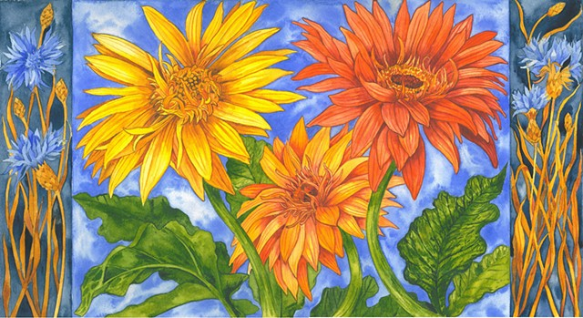 Watercolor painting of daisies and cornflowers by Donna Essig