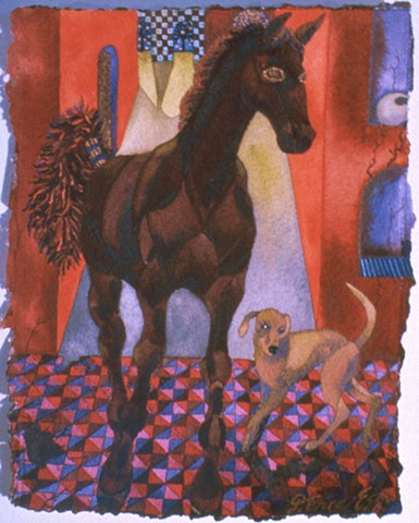 Donna Essig original watercolor painting dream myth horse dog