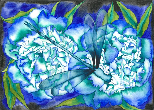 Donna Essig original watercolor dragonfly peony