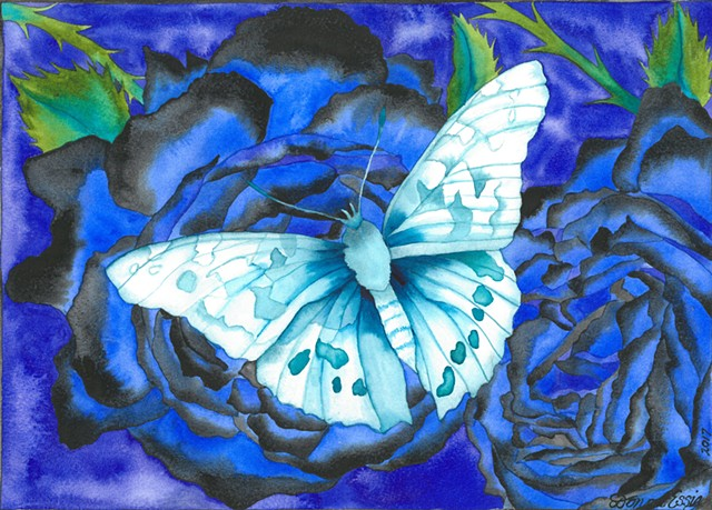 Blue Butterfly & Rose