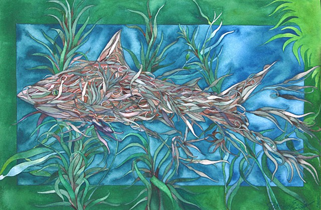 Donna Essig original watercolor painting shark