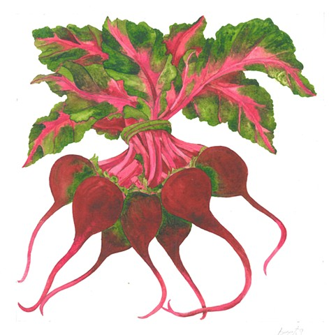 Watercolor painting of red beets by Donna Essig