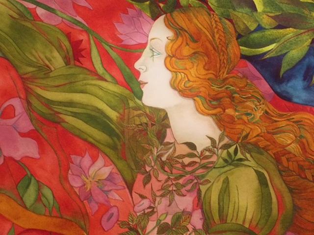 Donna Essig watercolor Botticelli Birth of Venus